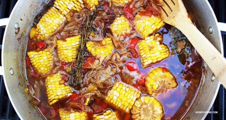Soupe aigre-douce de maïs et aux choux