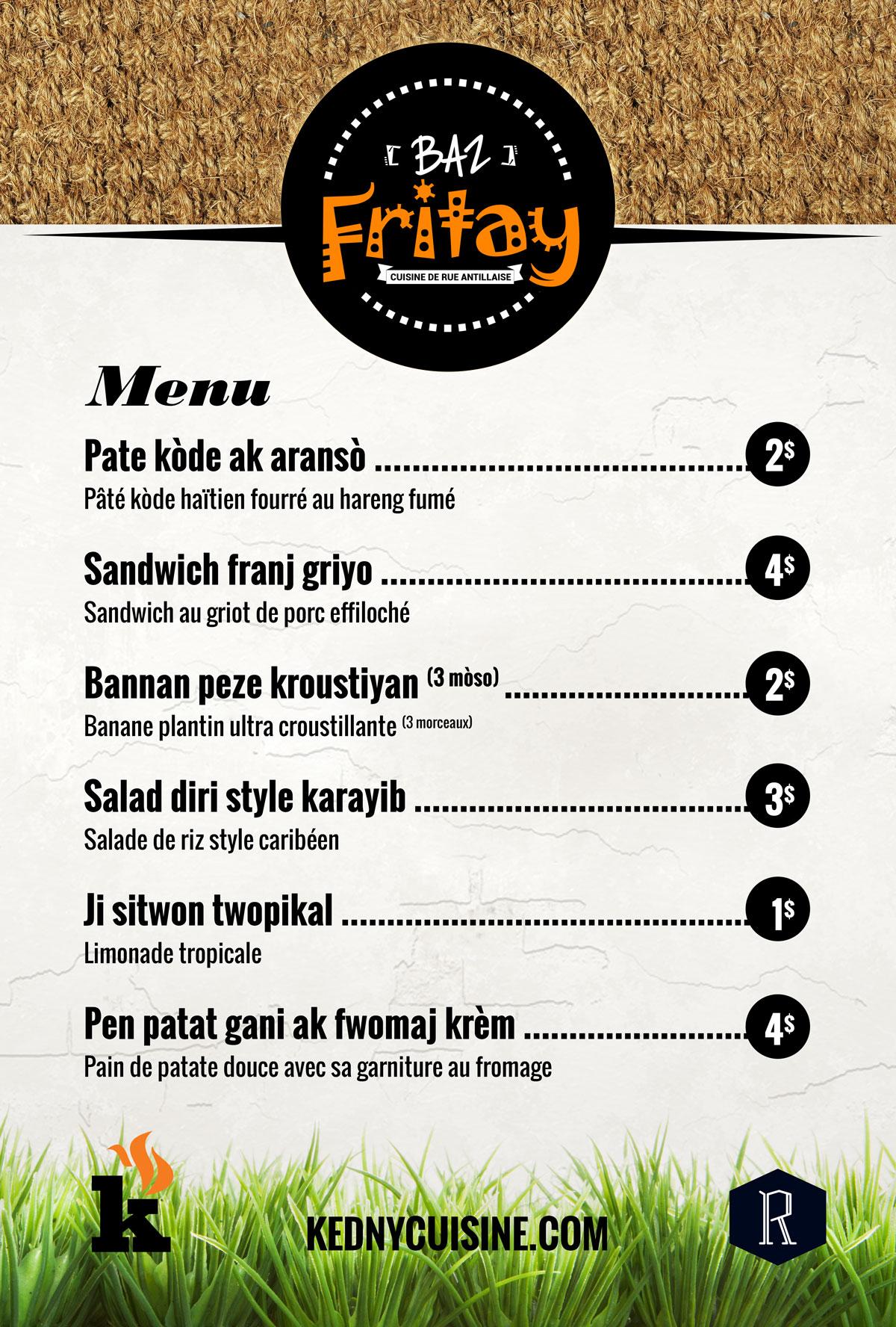 Baz Fritay - Cuisine de rue antillaise - MENU