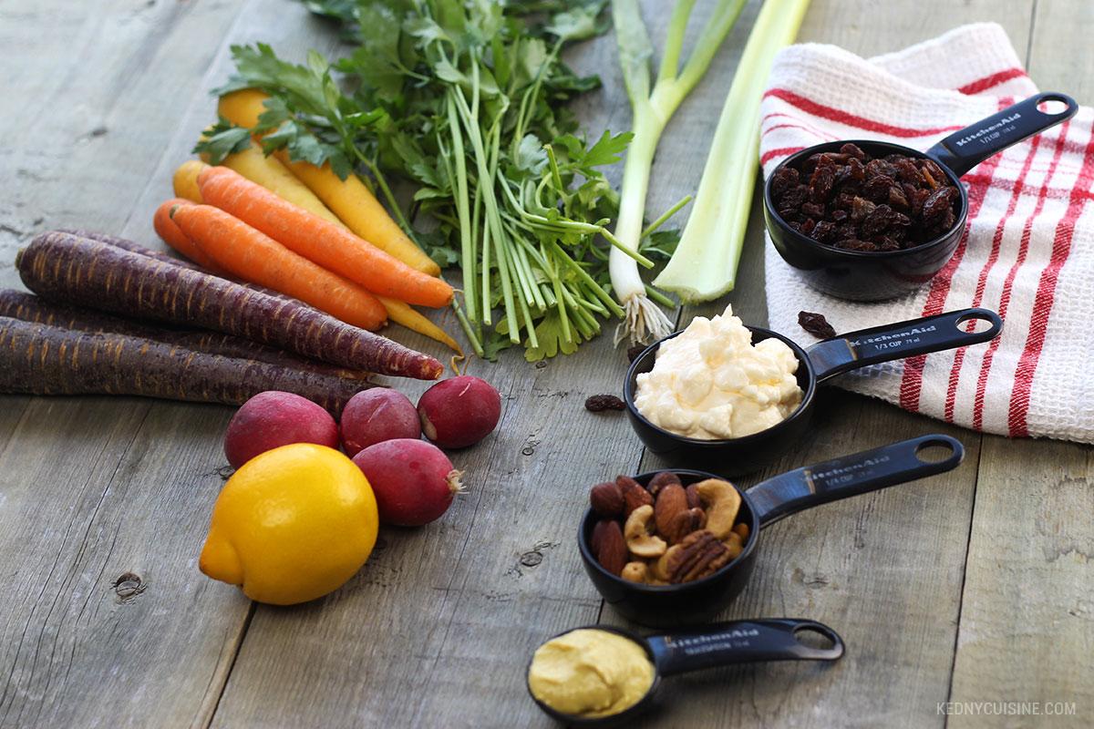 Salade de carottes colorées et raisins secs - 1
