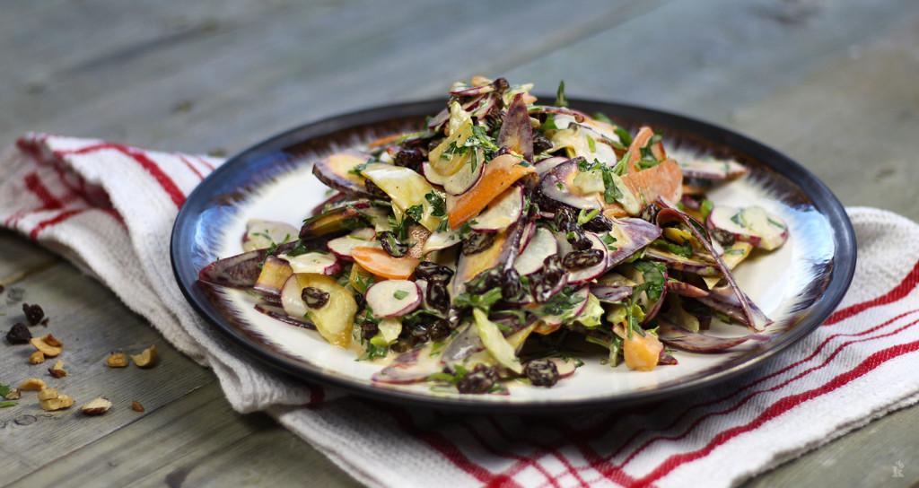 Salade de carottes colorées et raisins secs