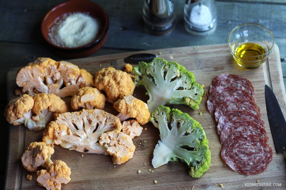 Choux-fleurs grillés et chips de salami 1