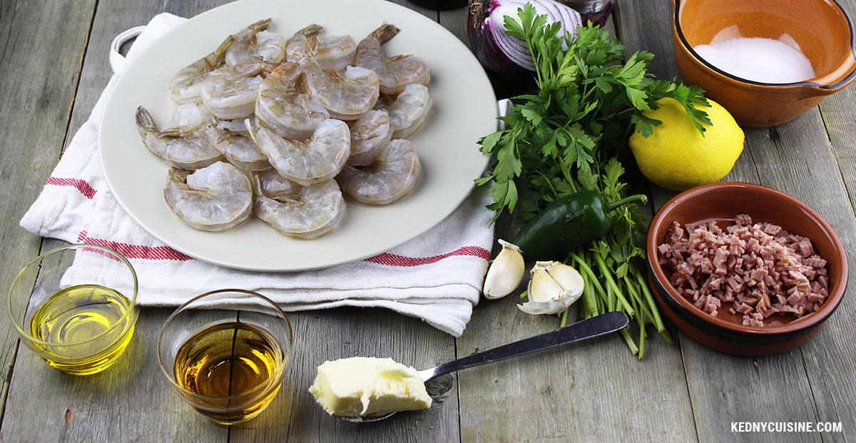 Crevettes sautées au salami et au rhum - 1