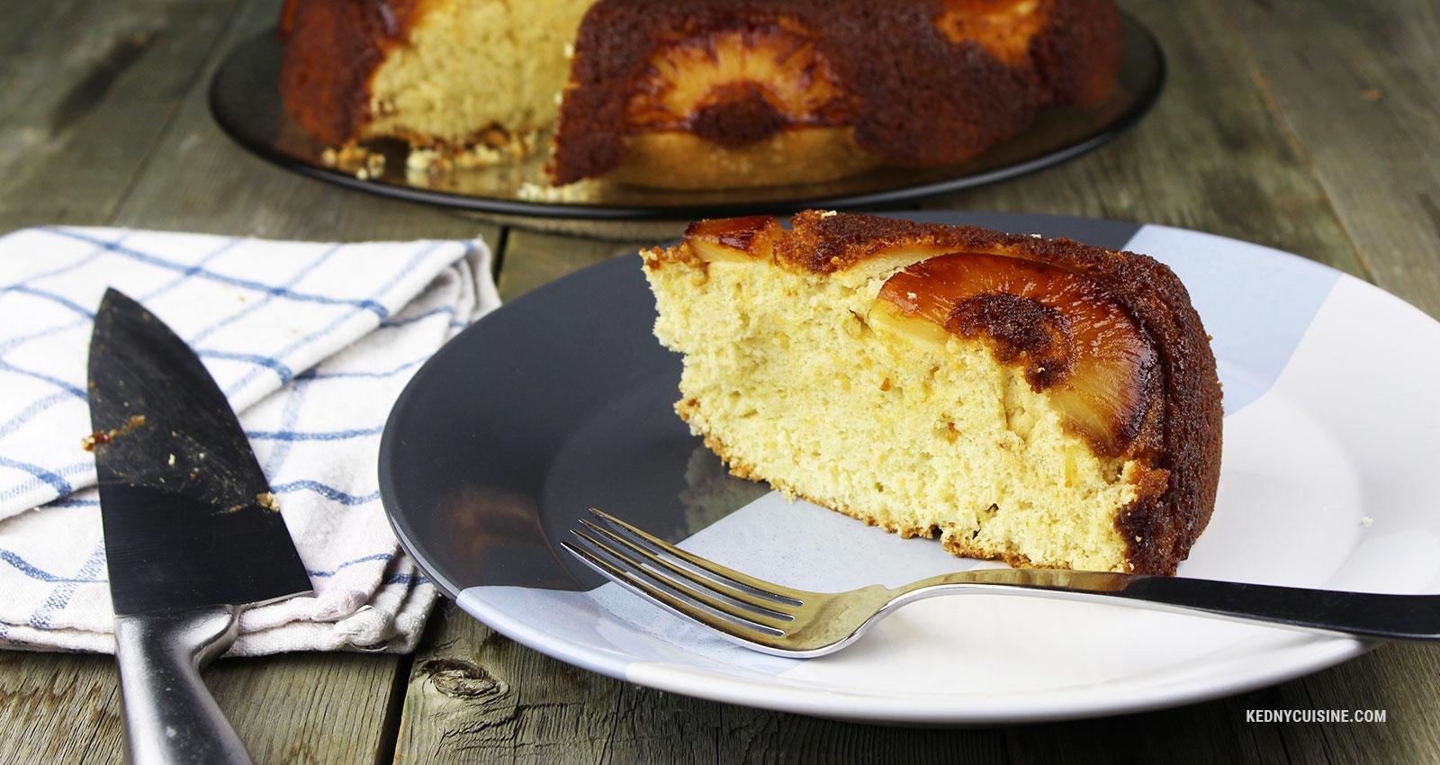 Gâteau renversé aux ananas - Kedny Cuisine