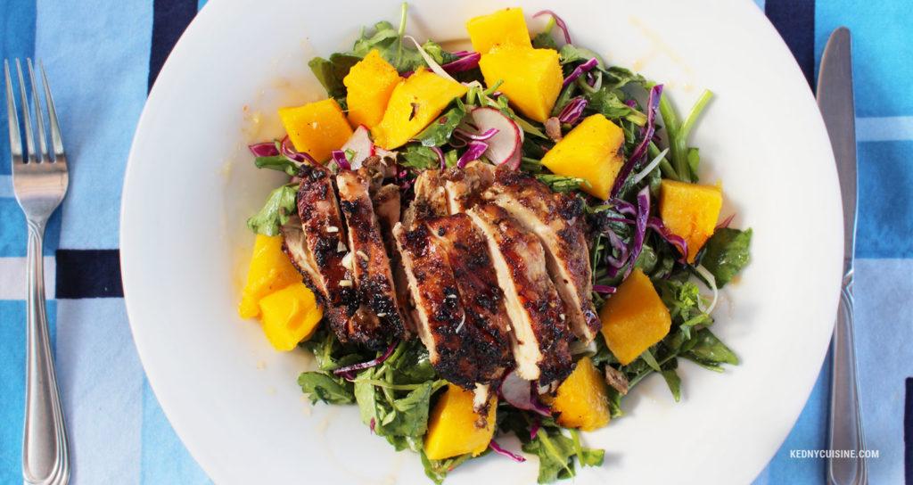 Salade de cresson poulet et mangue grillés - Kedny Cuisine