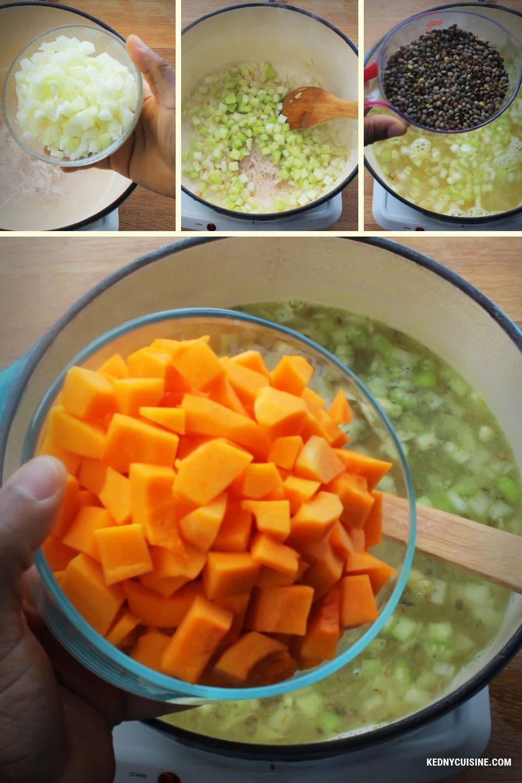 Soupe aux lentiles avec épinards et courge 2