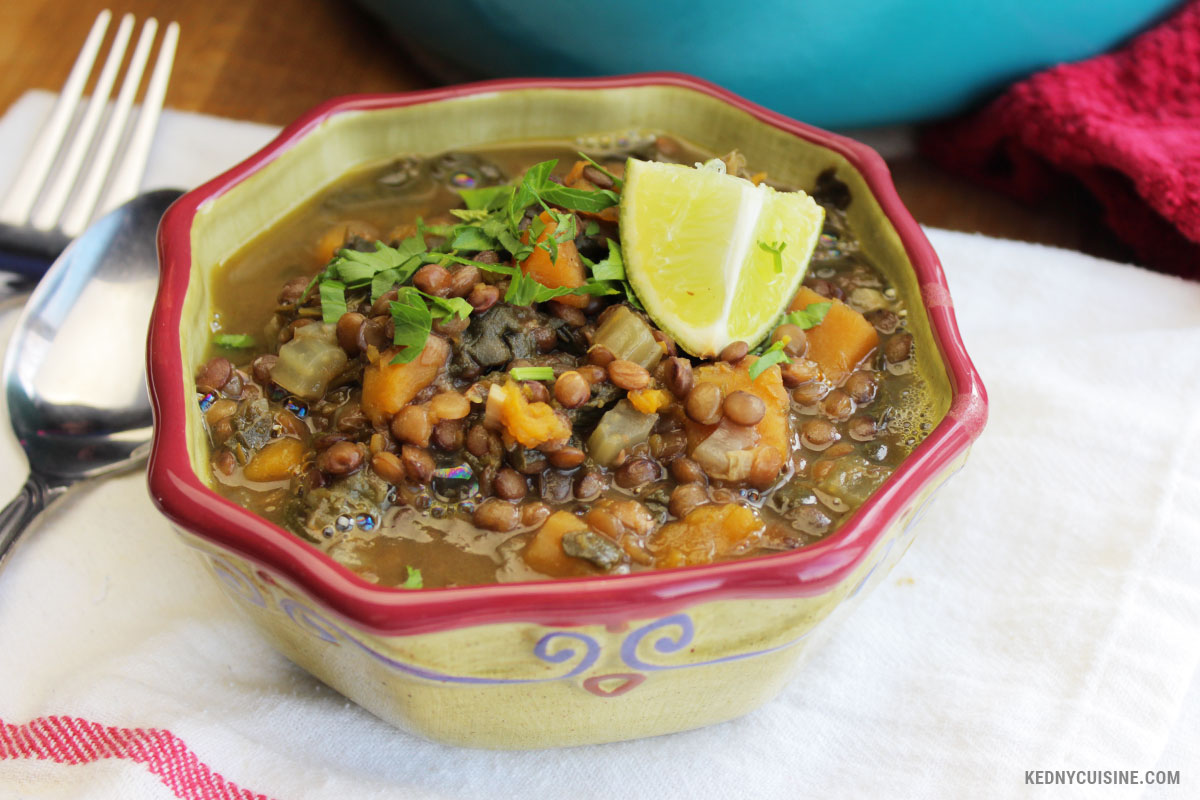 Soupe aux lentiles avec épinards et courge 4